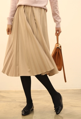 [Back band] Section pleats skirts (2color)