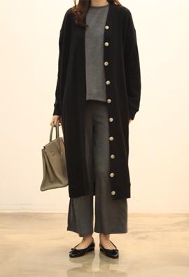 Button cardigan dress (3color)
