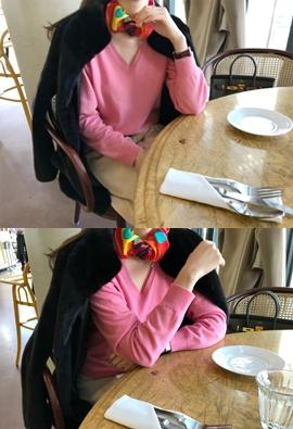[Cashmere] It V knit (pink)