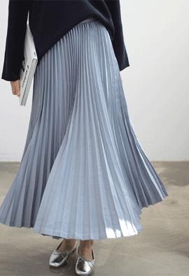 [Back band] Polish pleats skirts (2color)