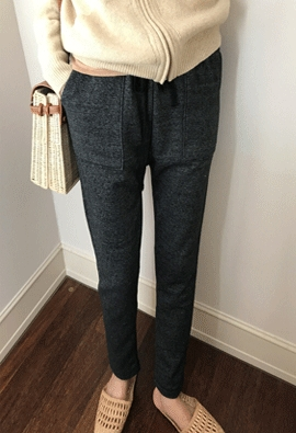 [Band type] Charcoal easy pant