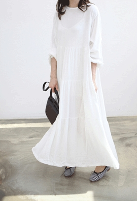 Shirring long dress (4color)