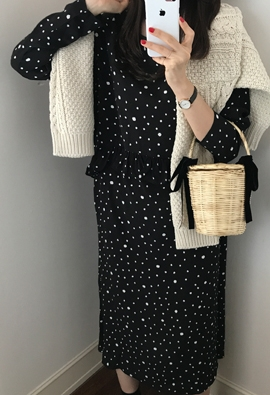 Frill dot dress (3color)