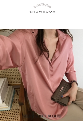 Silky shirt blouse (2color)
