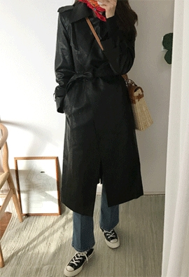 Fake Leather trench coat (2color)