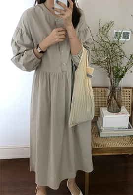 Round shirring dress (3color)
