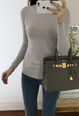[Wholegarment] Crew neck knit (beigegray)