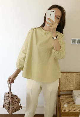 Rounded blouse (4color)