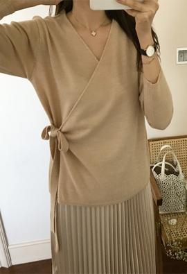 Ribboned wrap cardigan (2color)