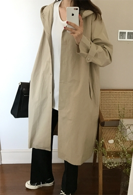 Hooded trench coat (2color)