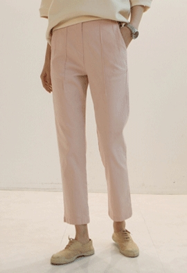 [Back band] Cotton pintuck pants (pink)