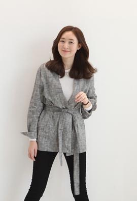 Mix linen jacket (black)