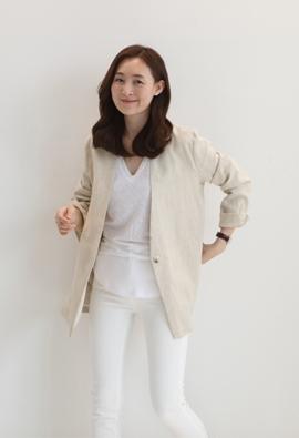 Mix linen jacket (beige)