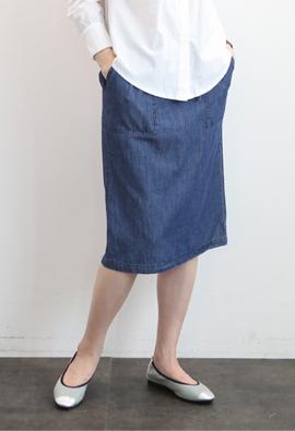 [Band type] Denim pocket skirts