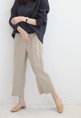 [Back band] linen wide pants (beige)