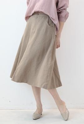 [Back band] Linen flare skirt (3color)
