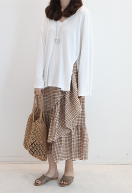 Ruffled gingham skirts (2color)