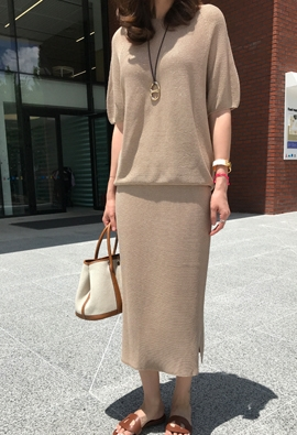 [Wholegarment] [Band] Timely knit skirt (beige)