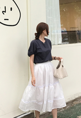 [Back band] Lace gingham skirt (2color)
