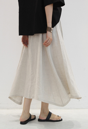 [Back band] Linen flared skirt
