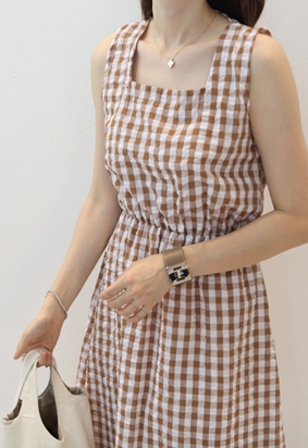 Square gingham dress (4color)