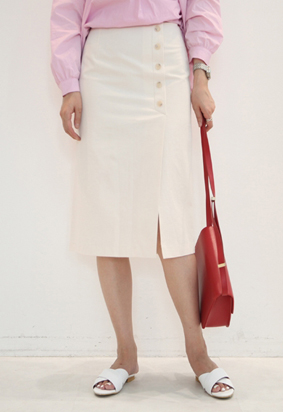 Button slit skirts (3color)