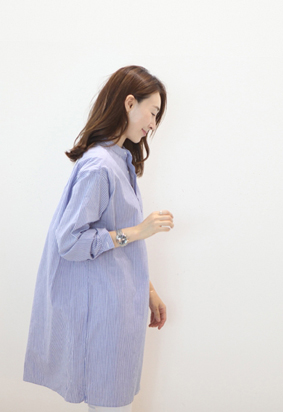 Henley long shirt dress (stripe)