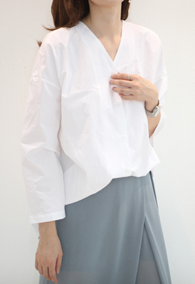 V neck button blouse (3color)