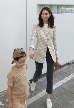 Beige gingham jacket