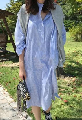 Henley neckline stripe dress
