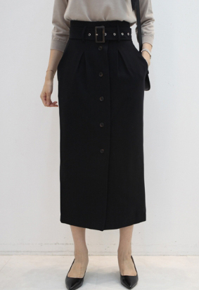 Belted button skirts (2color)