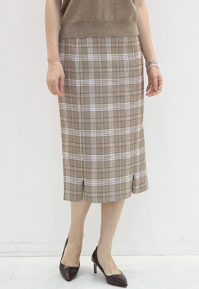 Zip up check skirts (2color)