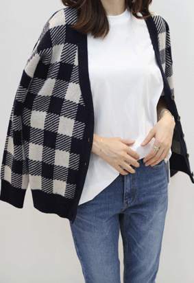 Gingham check cardigan (3color)