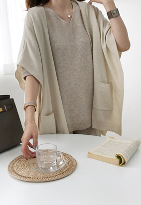 [Cashmere] Loose shawl cardigan (oatmeal)