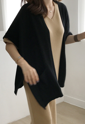 [Cashmere] Loose shawl cardigan (black)