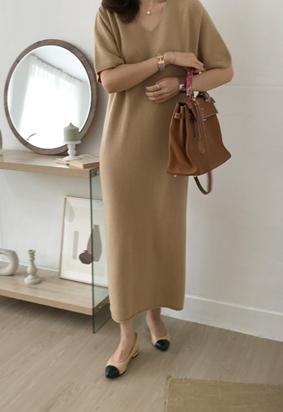 [Wholegarment] [Cashmere] Knit Maxi Dress (beige)