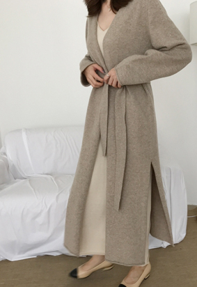 Bound long cardigan (darkbeige)