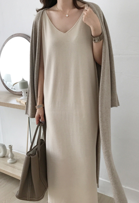 Wool slip dress (beige)