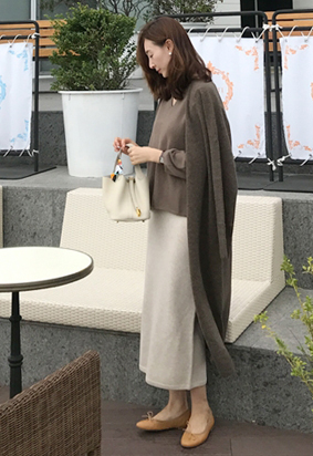 [Cashmere] Main long cardigan (brown)