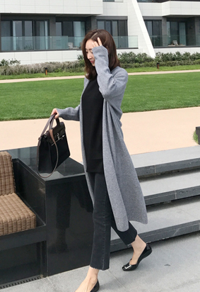 [Cashmere] Main long cardigan (gray)