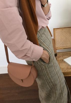 [Back band] Check slit skirt