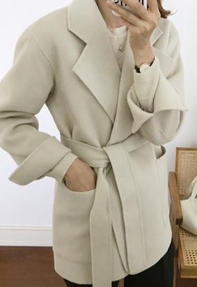 [HandMade] Wool belted jacket (3color)
