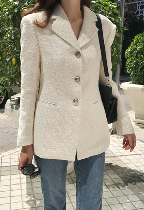 Closer tweed jacket (ivory)