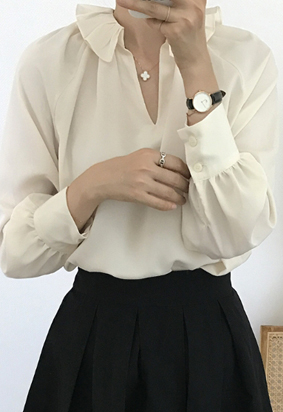 Frill collar blouse (2color)