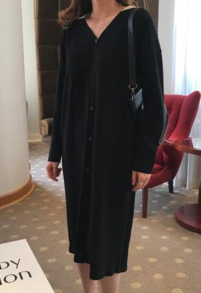 Collar cardigan dress (2color)