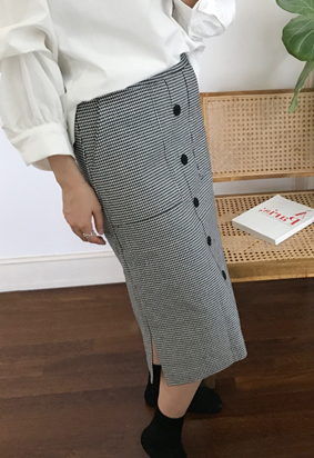 [Back Band] Hound Button Skirt (2color)