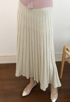 [band] Knit pleats skirt (3color)