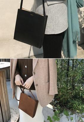 [Cowhide] Flat square bag (2color)