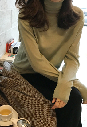 Half wool turtle knit (mint)