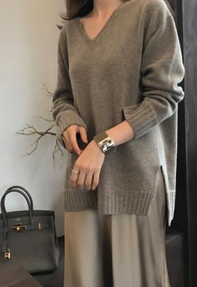 [cashmere] [Wholegarment] Wooden V knit (mocha)